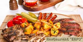 1100гр хапване за компанията! Плато с пилешки и свински карета, ребърца и картофи соте