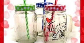 """Стъклени бурканчета, керамични чаши или комплекти """"За Нея и за Него"""" - със снимка или дизайн по избор"""