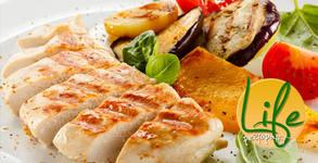 Салата по избор и пържени картофки, плюс пилешки жулиен или свинска вратна пържола