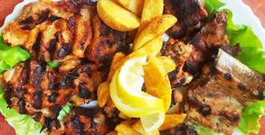 2.32кг плато с пилешко и свинско месце, картофки, пърленка и сосче