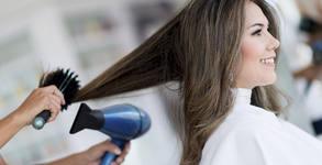 За блестяща коса! Измиване, маска и подстригване или възстановяваща терапия, плюс оформяне със сешоар