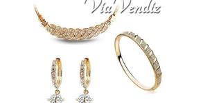 """Стилен комплект бижута """"Емили"""" - колие, обеци и гривна с 18К бяло или жълто златно покритие и австрийски кристали"""