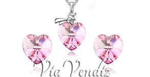 """Сет колие и обеци с австрийски кристали """"Розова любов"""", """"Лилава любов"""" или """"Синя любов"""""""