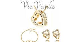 """Колие, гривна и обеци """"Влюбване"""" - с австрийски кристали и 18К златно покритие"""