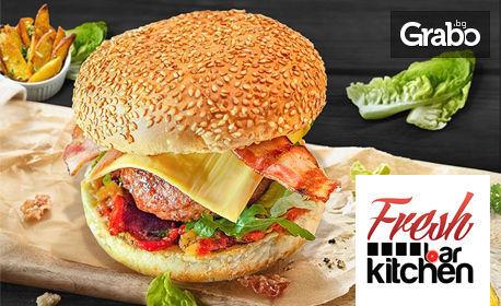 Вкусен бургер по избор - пилешки, телешки, веджи или чийз, плюс картофи на барбекю и салата