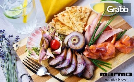 """Букет свежи салати с козе сирене, печено свинско месо """"на конци"""" или Октопод със салатка"""