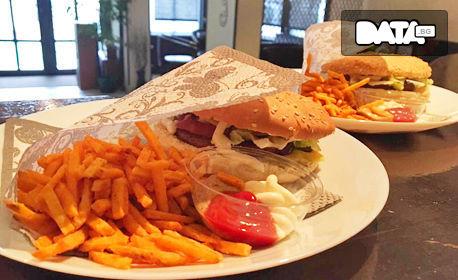 2 бургера по избор, плюс пържени картофки и сосчета