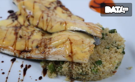 Свинско месо с лайм и билки, Филе от прясна пъстърва върху ризото от киноа, или Пилешко филе с див ориз