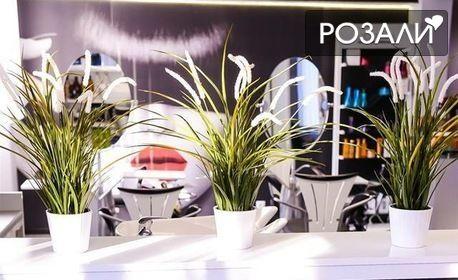 Терапия за коса по избор, масажно измиване и прическа със сешоар - без или със подстригване