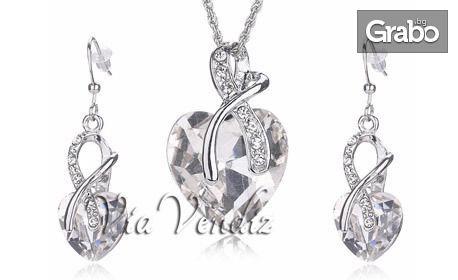 """Колие и обеци """"Кристално сърце"""" с 18K бяло златно покритие и австрийски кристали"""
