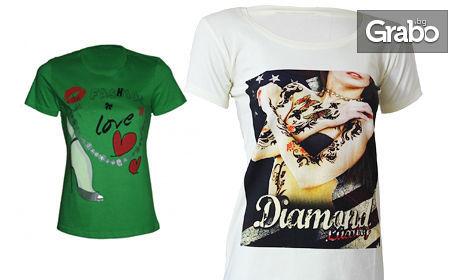 Дамска модна тениска с щампа в модел, цвят и размер по избор