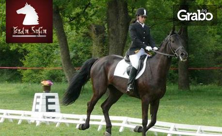 30 минути езда в конна база Хан Аспарух, или 60 минути обучение по езда, грижа за коня и оседлаване