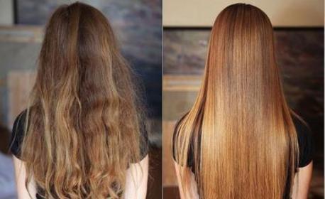 Ламиниране на коса с арганово и кокосово олио, плюс подстригване и оформяне със сешоар