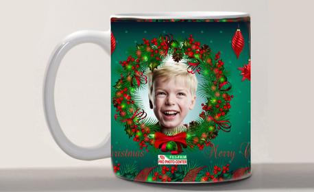 Коледен подарък! Бяла фоточаша със снимка и дизайн по избор - 1, 5 или 30 броя