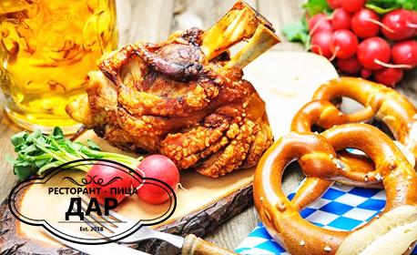 Свински джолан със сметана и кисели краставички, виенски шницел или пъстърва на скара