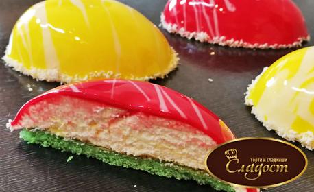 4 тортички с форма на яйце - с мус от бял шоколад, ванилов пандишпан и глазура