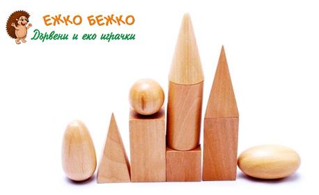 """Забавление и обучение с Монтесори! Комплект дървени играчки - геометрични форми или """"Розова кула"""""""