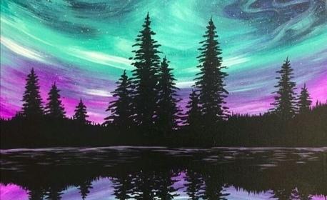 Творческа вечер! 3 часа рисуване с акрилни бои върху платно, плюс чаша вино