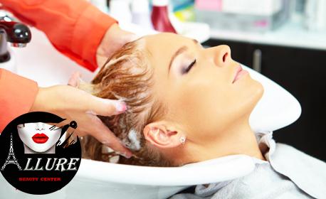 Боядисване на коса с боя на клиента, плюс масажно измиване и оформяне със сешоар