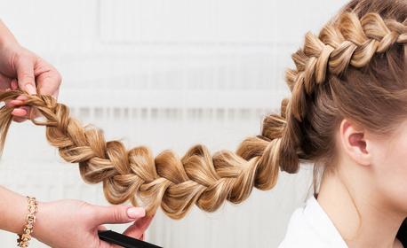 Масажно измиване на коса, подхранваща ампула и прическа със сешоар - без или със оформяне на плитки
