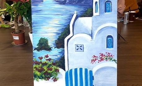 3 часа рисуване с акрилни бои върху платно с напътствия от художник, плюс чаша вино