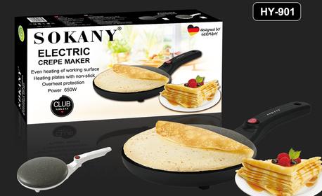 Електрически тиган за палачинки Sokany с незалепващо гранитно покритие, в  цвят по избор и бонус - съд за смес, от Гранд Форс Груп | Grabo Mobile