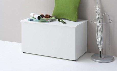 Дървена пейка-ракла Hocki 2 в бял цвят