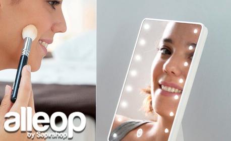 Настолно козметично огледало InnovaGoods с 16 LED лампички, завъртане на 180° и Touch контрол