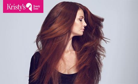 Красива коса! Боядисване с боя на клиента, измиване с продукти Кeune и оформяне - без или подстригване