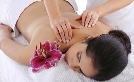 Лечебен и имуностимулиращ масаж с поморийска луга на гръб, врат и ръце - без или със въвеждане на обезболяващ гел с ултразвук