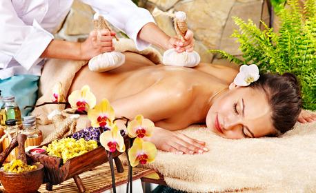 Лечебен масаж с коктейл от билки на гръб, врат, поясно-кръстцов дял и ръце, плюс антистрес масаж на скалп