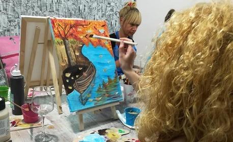 2 часа рисуване с акрилни бои върху платно с напътствия от художник, плюс чаша вино или безалкохолно