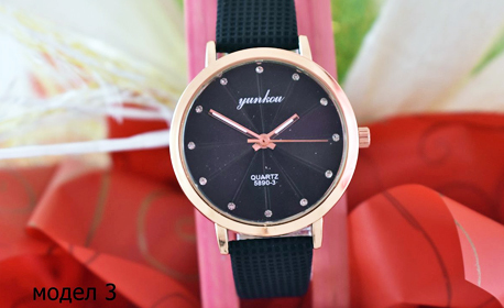Дамски часовник с каишка от изкуствената кожа в цвят по избор