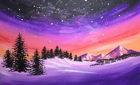 3 часа рисуване с акрилни бои върху платно под ръководството на професионален художник, плюс чаша вино