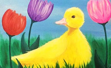 3 часа курс по рисуване за деца с акрилни бои върху платно, плюс напитка