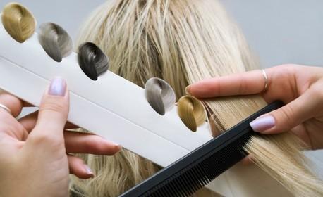 Боядисване на коса с боя от салона, плюс масажно измиване и оформяне със сешоар