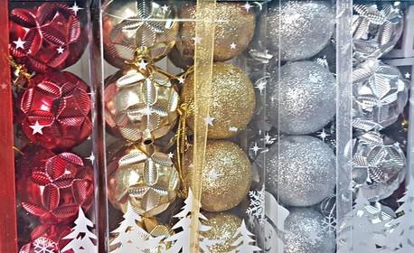 Кутия с украса за елха - с 20 малки топки или с 21 големи топки и 6 декоративни подаръчета