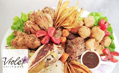 1130гр плато - свински джолан, топени сиренца, чипс от картофки, пикантни крилца и тортила