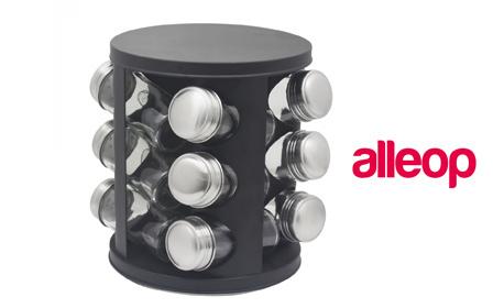 Комплект с 12 или 16 стъклени бурканчета за подправки на въртяща се основа Zephyr
