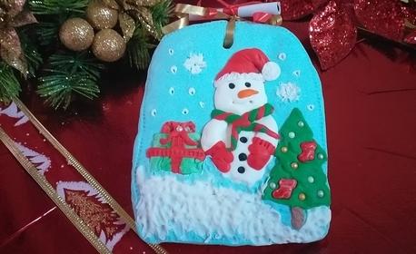 Ръчно декорирана меденка във вид на картичка, или 9 броя меденки в кутия с коледен дизайн
