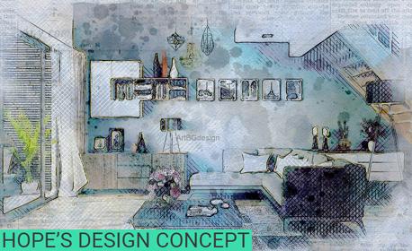 Изготвяне на идеен проект за интериорен дизайн на помещение до 20 квадратни метра, плюс консултация