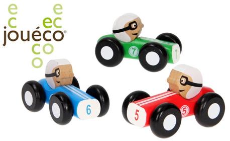 Чудесен коледен подарък за малчугана! Дървена състезателна ретро кола Jouéco - цвят по избор