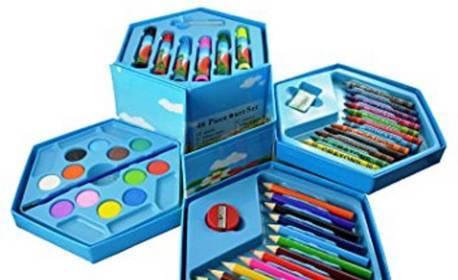 Подарък за малки творци! Детски комплект за рисуване с 46 части в кутия
