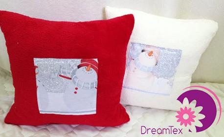 2 пухкави декоративни възглавнички със зимен мотив - в цвят по избор