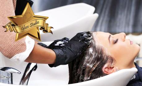 Възстановяваща или лечебна терапия за коса, плюс оформяне със сешоар