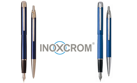 Лазерно гравиран комплект Inoxcrom Pure - химикал и писалка, плюс патрончета с мастило