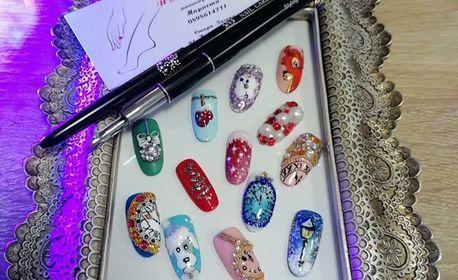 Маникюр с гел лак, гел IBD върху естествен нокът или ноктопластика с неограничен брой декорации