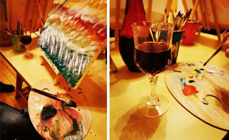 3 часа рисуване и арт терапия с професионален художник, плюс чаша вино и минерална вода