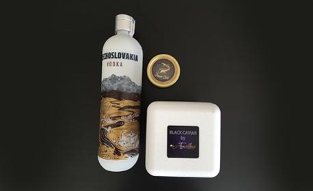 50гр черен хайвер от руска есетра, плюс 700мл водка Czechoslovakia, с безплатна доставка