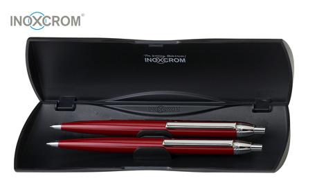 Гравиран комплект Inoxcrom 2022 - химикал и автоматичен молив в червен цвят